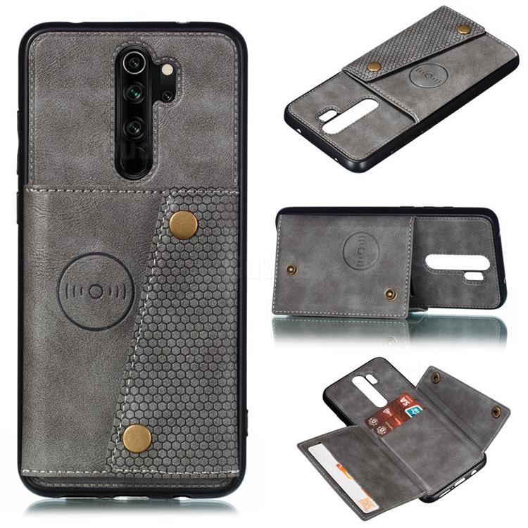 Retro Multifunction Card Slots Stand Leather Coated Phone Back Cover for Xiaomi Redmi 9 - Gray