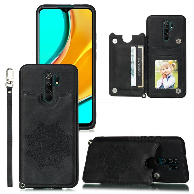 Luxury Mandala Multi-function Magnetic Card Slots Stand Leather Back Cover for Xiaomi Redmi 9 - Black