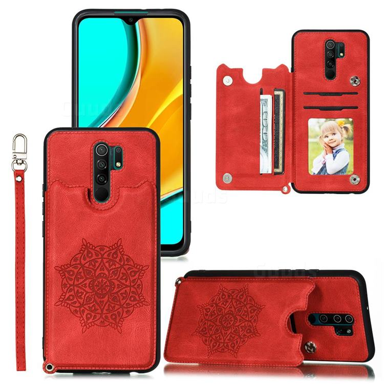 Luxury Mandala Multi-function Magnetic Card Slots Stand Leather Back Cover for Xiaomi Redmi 9 - Red