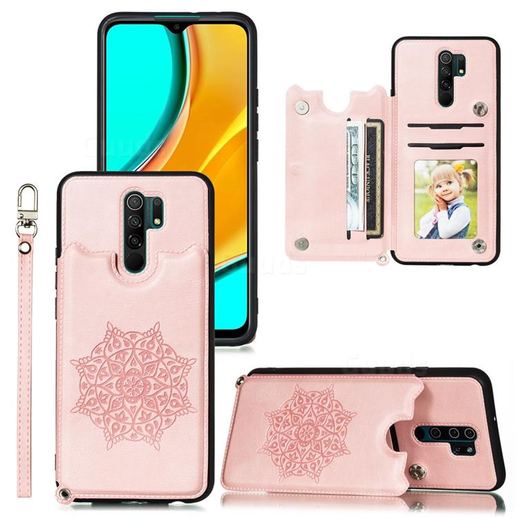 Luxury Mandala Multi-function Magnetic Card Slots Stand Leather Back Cover for Xiaomi Redmi 9 - Rose Gold