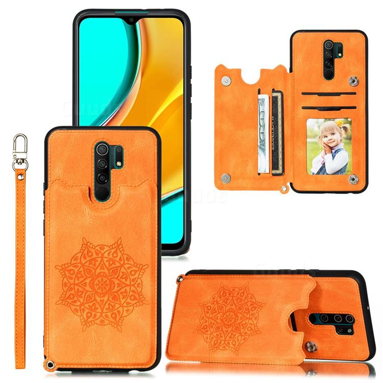 Luxury Mandala Multi-function Magnetic Card Slots Stand Leather Back Cover for Xiaomi Redmi 9 - Yellow