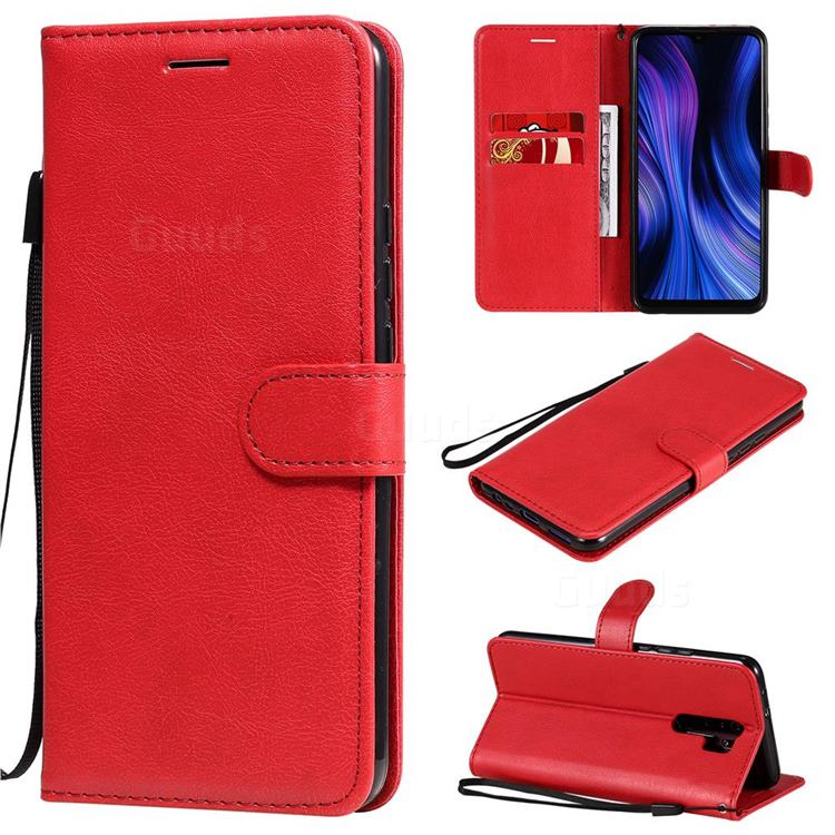 Retro Greek Classic Smooth PU Leather Wallet Phone Case for Xiaomi Redmi 9 - Red