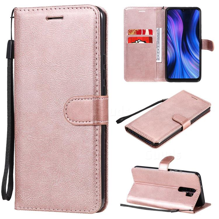 Retro Greek Classic Smooth PU Leather Wallet Phone Case for Xiaomi Redmi 9 - Rose Gold