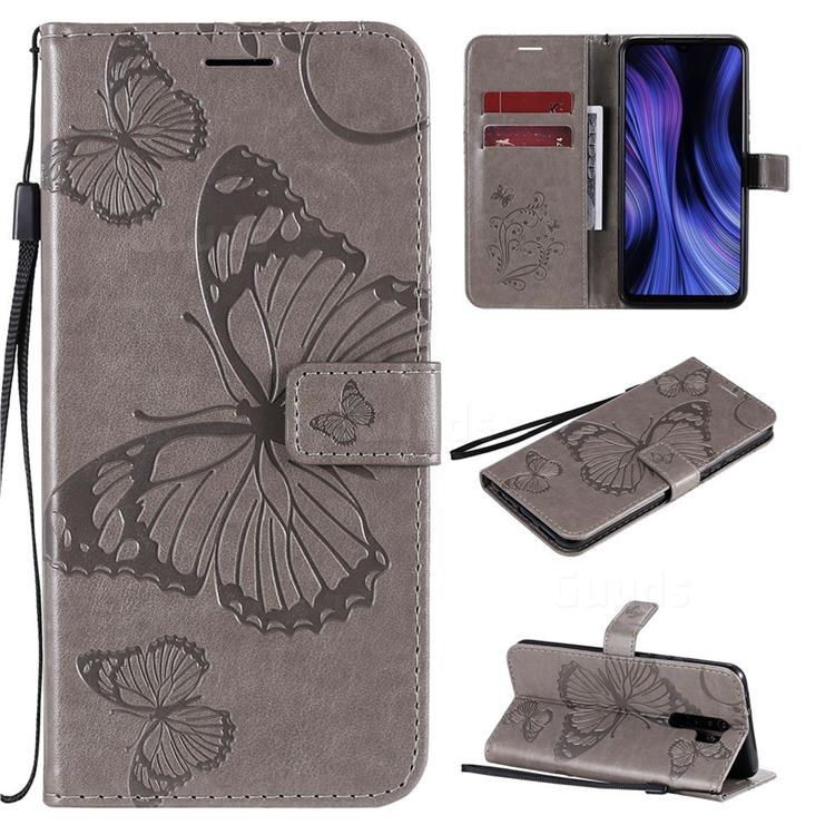 Embossing 3D Butterfly Leather Wallet Case for Xiaomi Redmi 9 - Gray