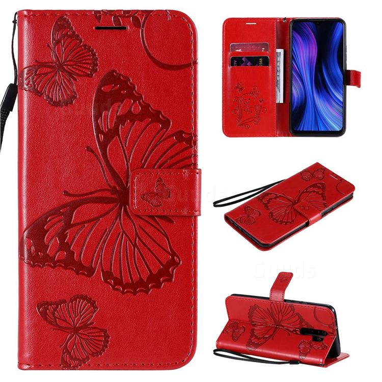 Embossing 3D Butterfly Leather Wallet Case for Xiaomi Redmi 9 - Red