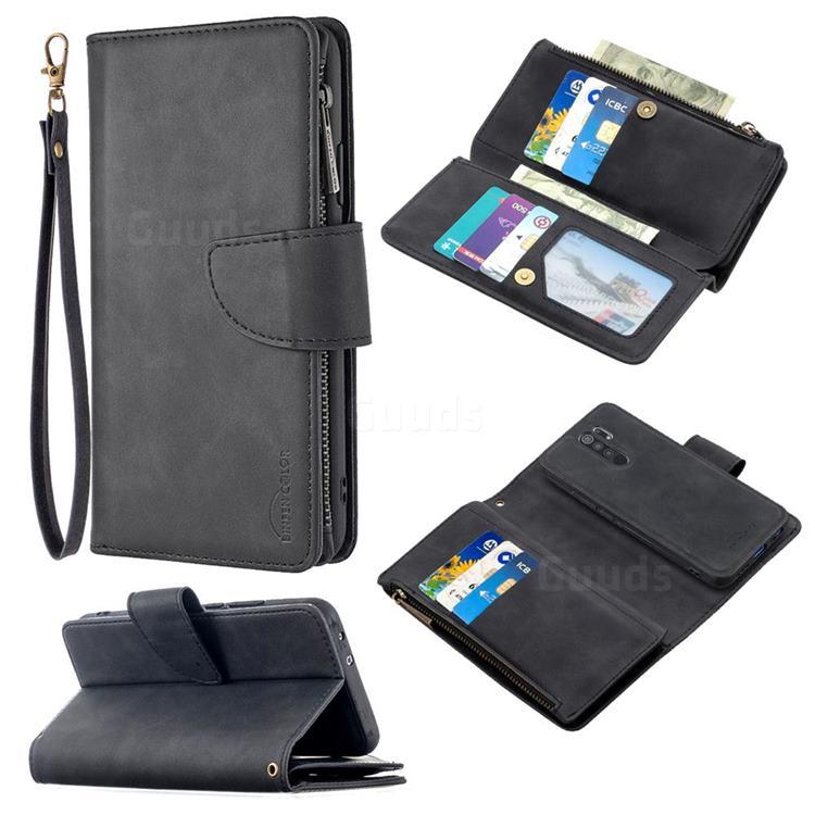 Binfen Color BF02 Sensory Buckle Zipper Multifunction Leather Phone Wallet for Xiaomi Redmi 9 - Black