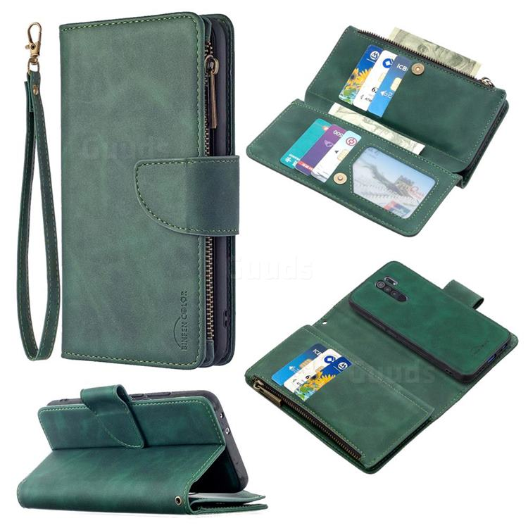 Binfen Color BF02 Sensory Buckle Zipper Multifunction Leather Phone Wallet for Xiaomi Redmi 9 - Dark Green