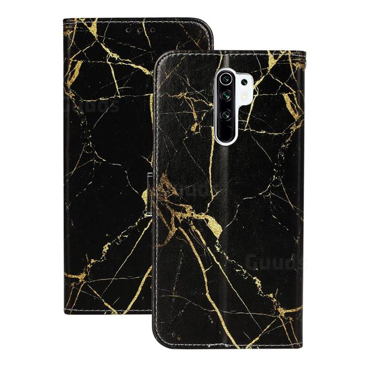 Black Gold Marble PU Leather Wallet Case for Xiaomi Redmi 9