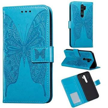 Intricate Embossing Vivid Butterfly Leather Wallet Case for Xiaomi Redmi 9 - Blue