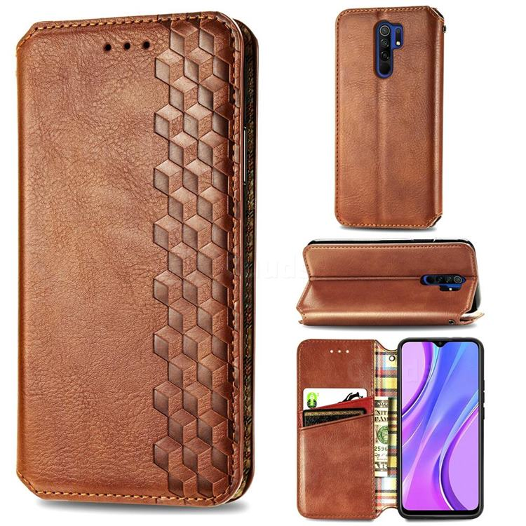 Ultra Slim Fashion Business Card Magnetic Automatic Suction Leather Flip Cover for Xiaomi Redmi 9 - Brown