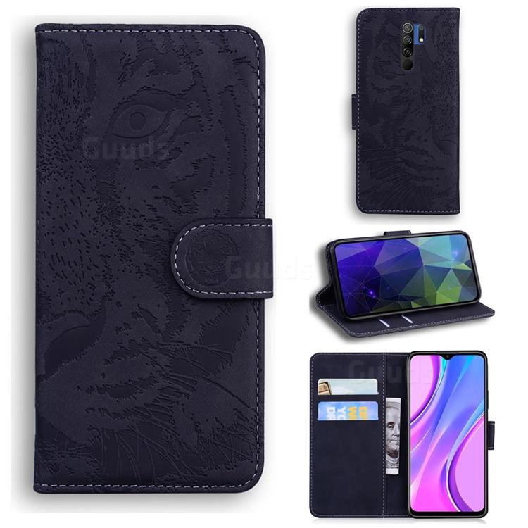 Intricate Embossing Tiger Face Leather Wallet Case for Xiaomi Redmi 9 - Black