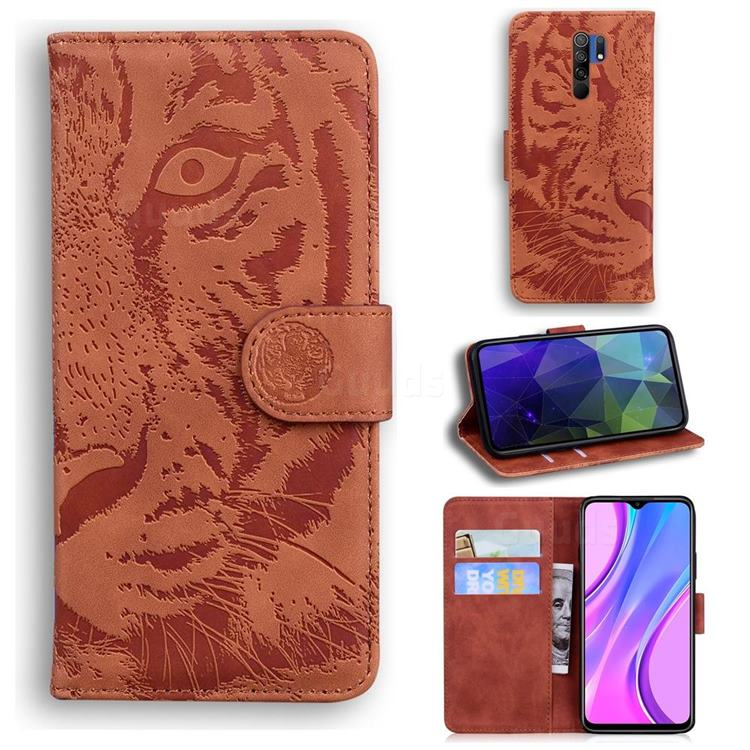 Intricate Embossing Tiger Face Leather Wallet Case for Xiaomi Redmi 9 - Brown