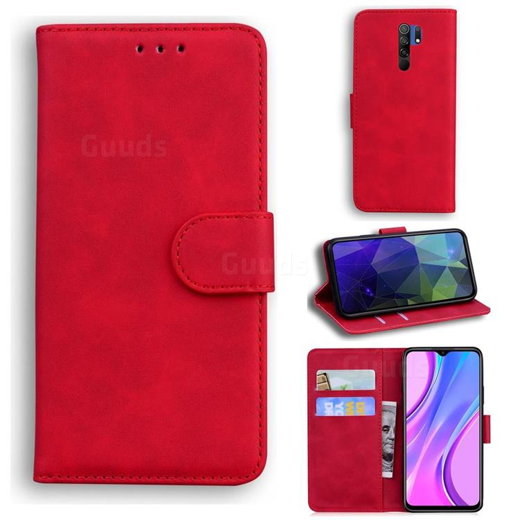 Retro Classic Skin Feel Leather Wallet Phone Case for Xiaomi Redmi 9 - Red