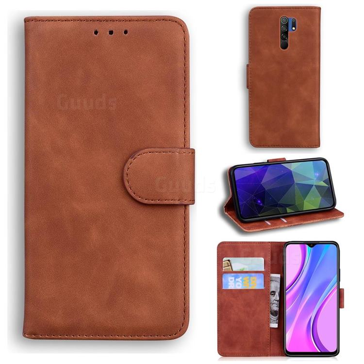 Retro Classic Skin Feel Leather Wallet Phone Case for Xiaomi Redmi 9 - Brown