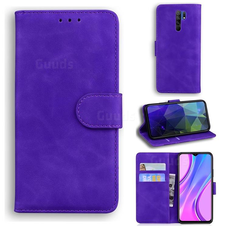 Retro Classic Skin Feel Leather Wallet Phone Case for Xiaomi Redmi 9 - Purple