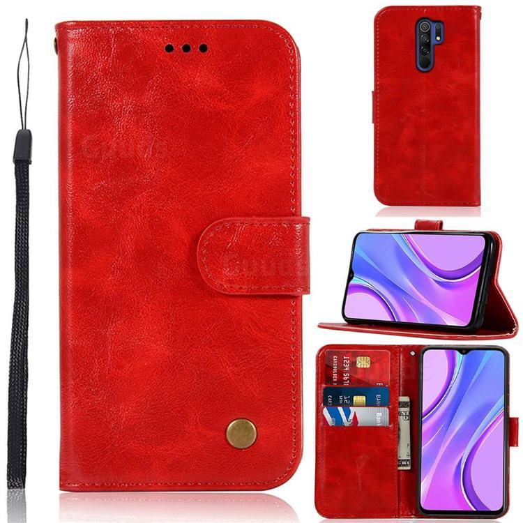Luxury Retro Leather Wallet Case for Xiaomi Redmi 9 - Red