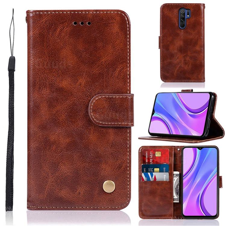 Luxury Retro Leather Wallet Case for Xiaomi Redmi 9 - Brown