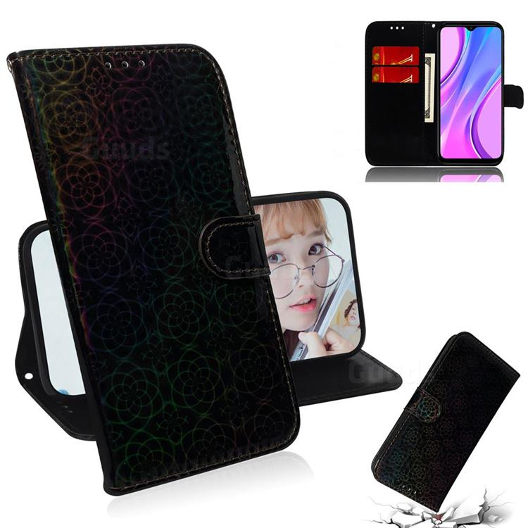 Laser Circle Shining Leather Wallet Phone Case for Xiaomi Redmi 9 - Black