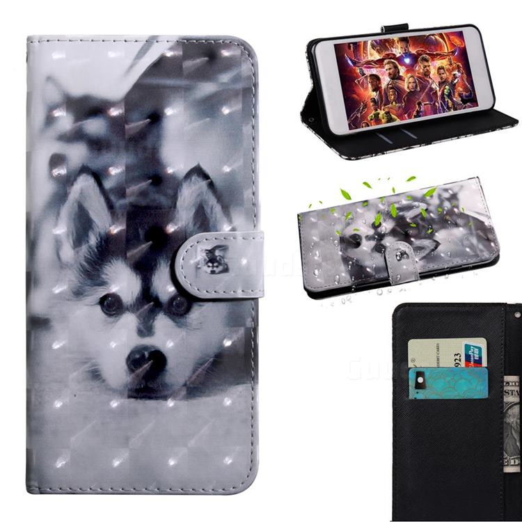 Husky Dog 3D Painted Leather Wallet Case for Xiaomi Redmi 9