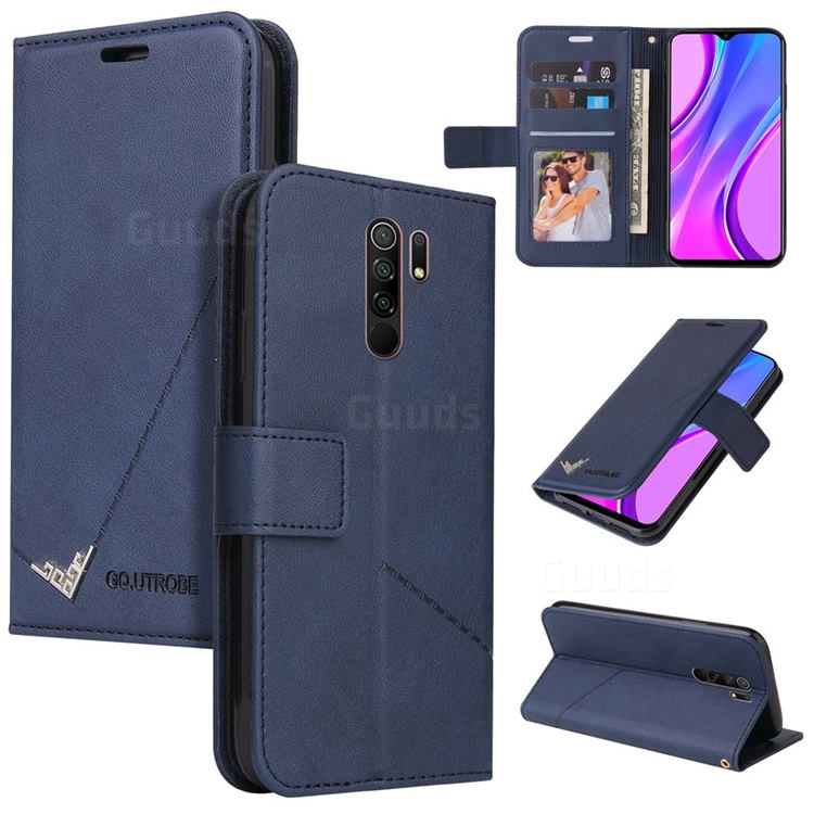 GQ.UTROBE Right Angle Silver Pendant Leather Wallet Phone Case for Xiaomi Redmi 9 - Blue