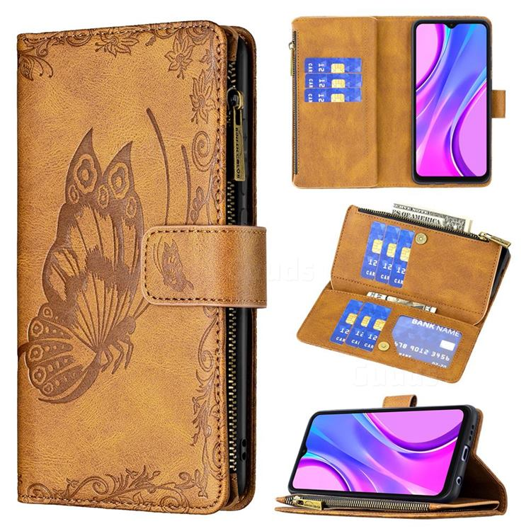 Binfen Color Imprint Vivid Butterfly Buckle Zipper Multi-function Leather Phone Wallet for Xiaomi Redmi 9 - Brown