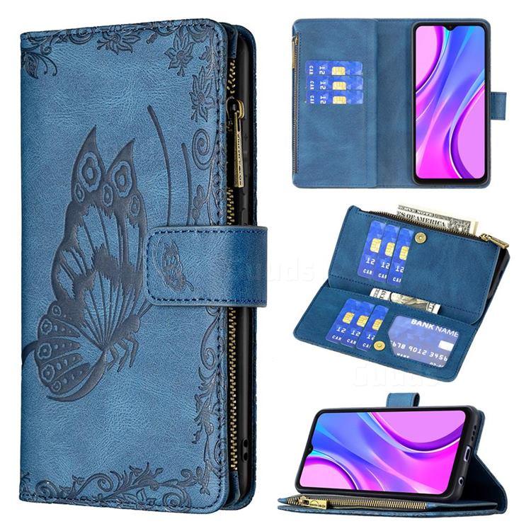Binfen Color Imprint Vivid Butterfly Buckle Zipper Multi-function Leather Phone Wallet for Xiaomi Redmi 9 - Blue