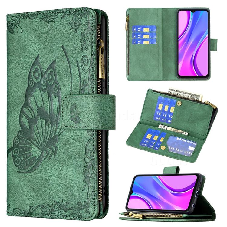 Binfen Color Imprint Vivid Butterfly Buckle Zipper Multi-function Leather Phone Wallet for Xiaomi Redmi 9 - Green