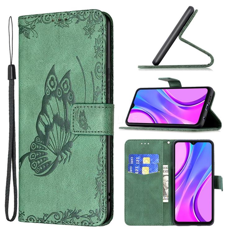 Binfen Color Imprint Vivid Butterfly Leather Wallet Case for Xiaomi Redmi 9 - Green
