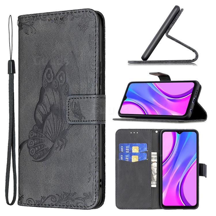 Binfen Color Imprint Vivid Butterfly Leather Wallet Case for Xiaomi Redmi 9 - Black
