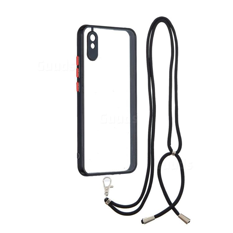 Necklace Cross-body Lanyard Strap Cord Phone Case Cover for Xiaomi Redmi 9A - Black