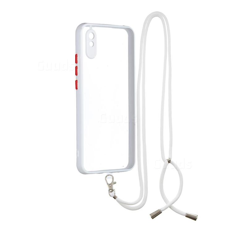 Necklace Cross-body Lanyard Strap Cord Phone Case Cover for Xiaomi Redmi 9A - White