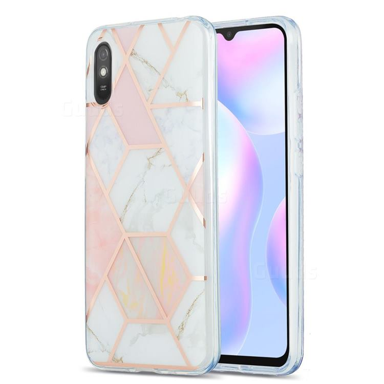 Pink White Marble Pattern Galvanized Electroplating Protective Case Cover for Xiaomi Redmi 9A
