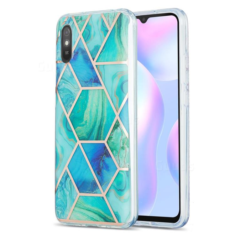 Green Glacier Marble Pattern Galvanized Electroplating Protective Case Cover for Xiaomi Redmi 9A