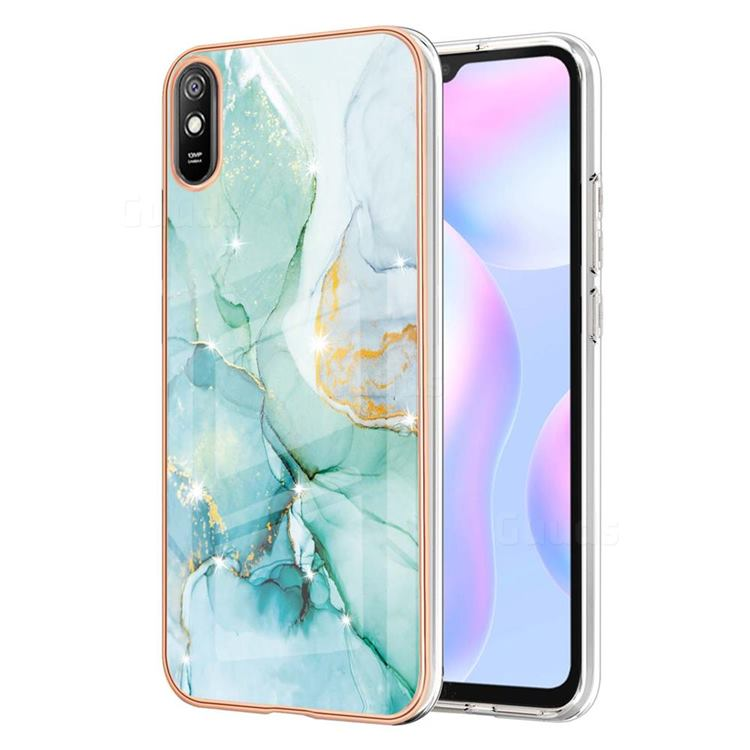 Green Silk Electroplated Gold Frame 2.0 Thickness Plating Marble IMD Soft Back Cover for Xiaomi Redmi 9A