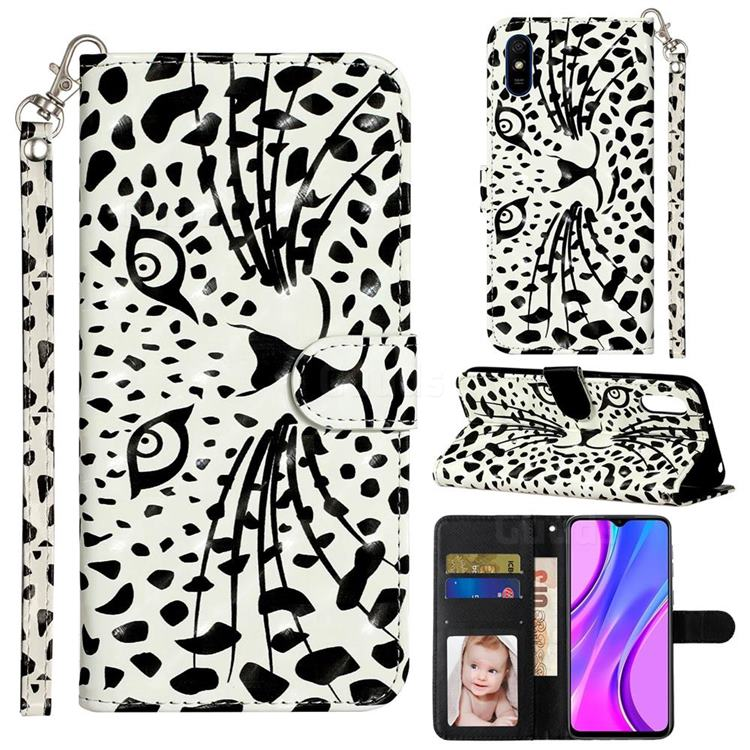 Leopard Panther 3D Leather Phone Holster Wallet Case for Xiaomi Redmi 9A