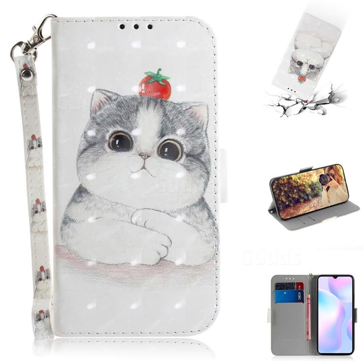 Cute Tomato Cat 3D Painted Leather Wallet Phone Case for Xiaomi Redmi 9A