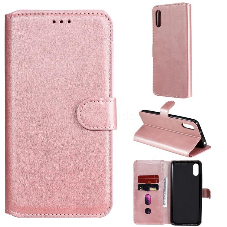 Retro Calf Matte Leather Wallet Phone Case for Xiaomi Redmi 9A - Pink