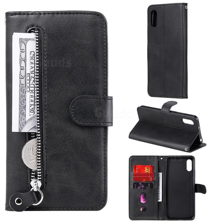 Retro Luxury Zipper Leather Phone Wallet Case for Xiaomi Redmi 9A - Black