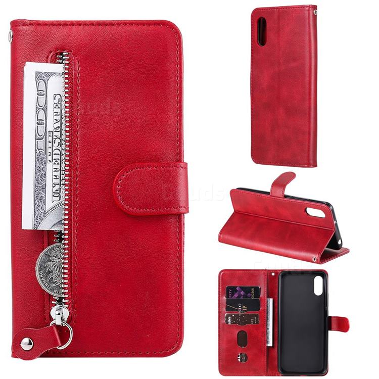 Retro Luxury Zipper Leather Phone Wallet Case for Xiaomi Redmi 9A - Red