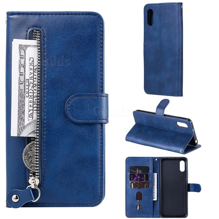 Retro Luxury Zipper Leather Phone Wallet Case for Xiaomi Redmi 9A - Blue
