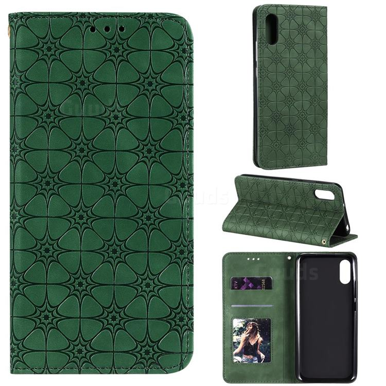 Intricate Embossing Four Leaf Clover Leather Wallet Case for Xiaomi Redmi 9A - Blackish Green