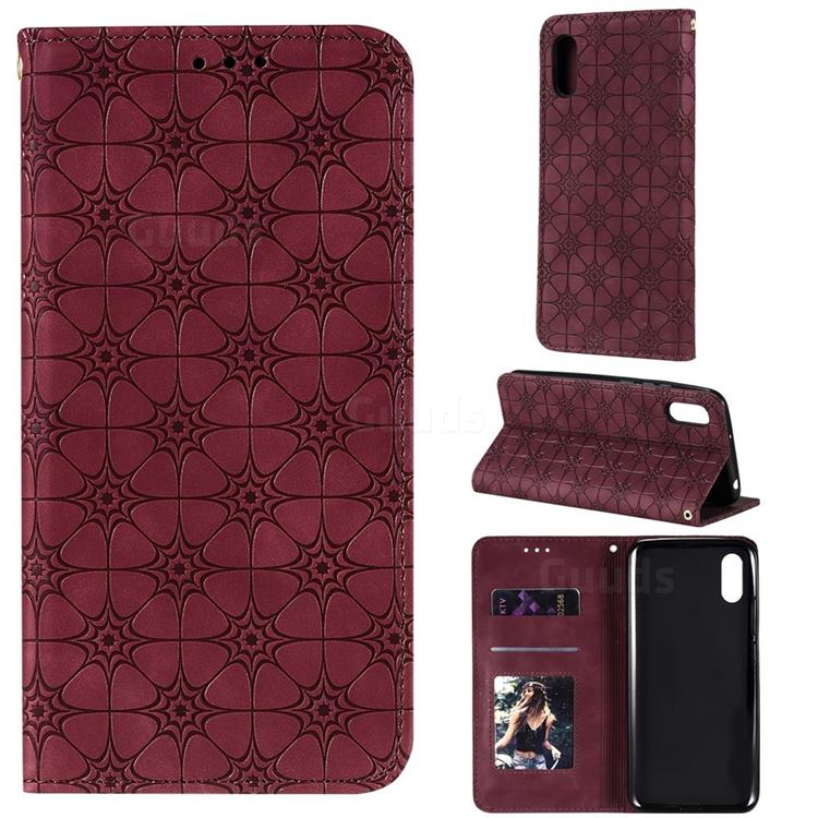 Intricate Embossing Four Leaf Clover Leather Wallet Case for Xiaomi Redmi 9A - Claret