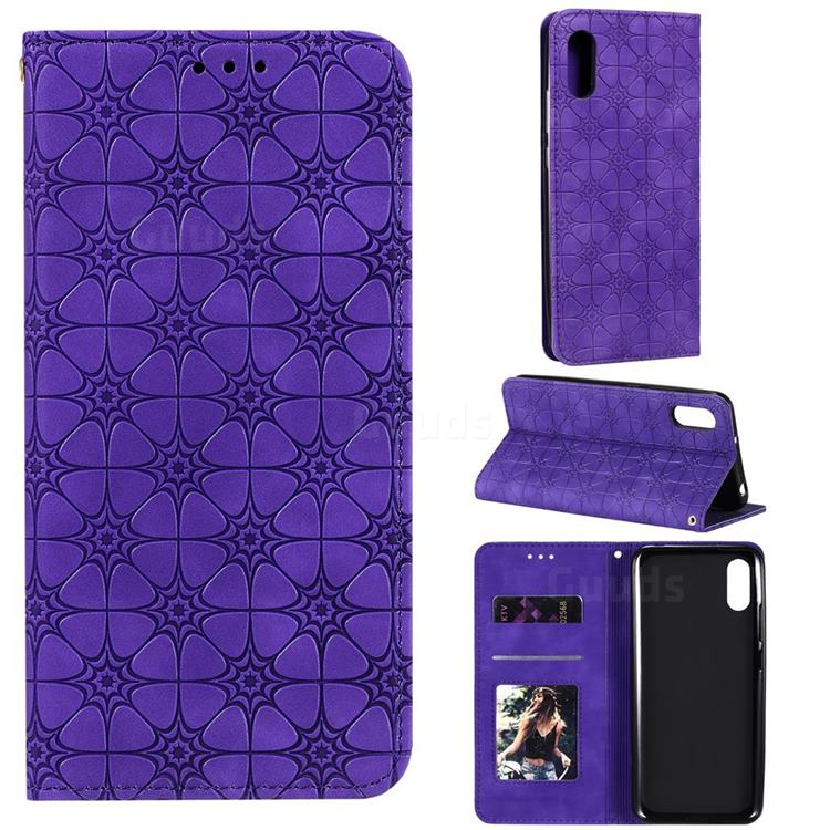 Intricate Embossing Four Leaf Clover Leather Wallet Case for Xiaomi Redmi 9A - Purple