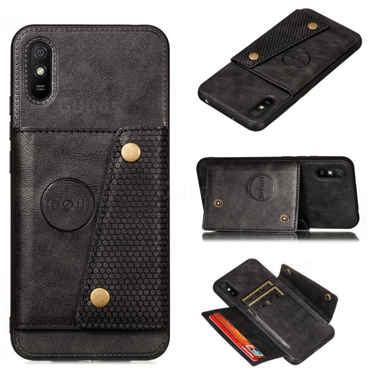 Retro Multifunction Card Slots Stand Leather Coated Phone Back Cover for Xiaomi Redmi 9A - Black