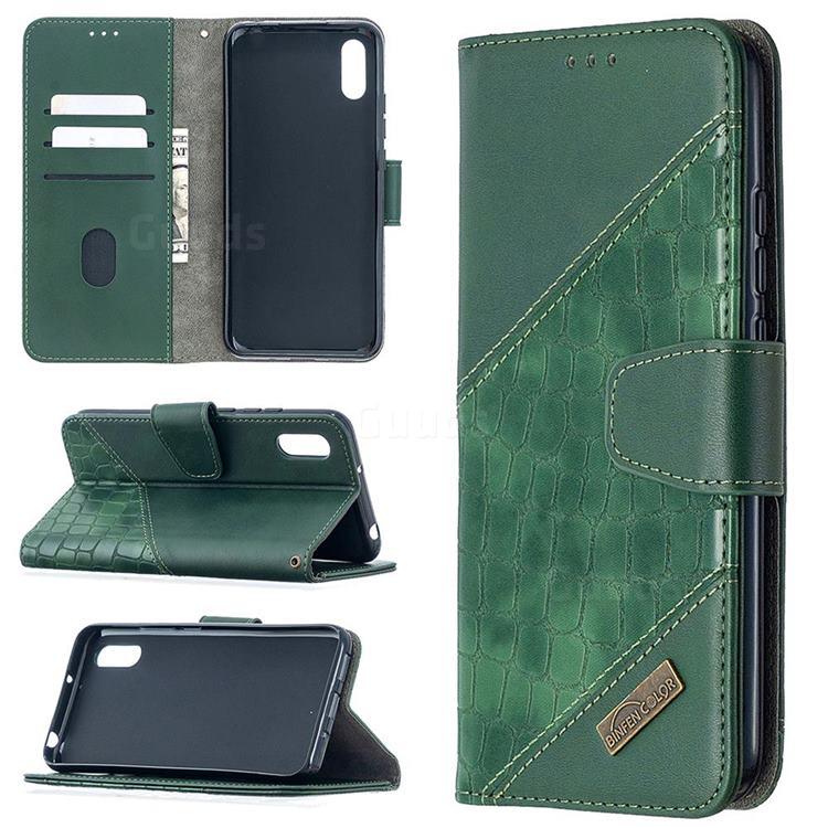 BinfenColor BF04 Color Block Stitching Crocodile Leather Case Cover for Xiaomi Redmi 9A - Green
