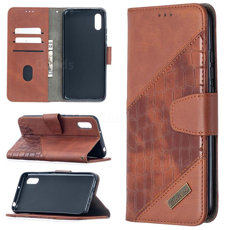 BinfenColor BF04 Color Block Stitching Crocodile Leather Case Cover for Xiaomi Redmi 9A - Brown