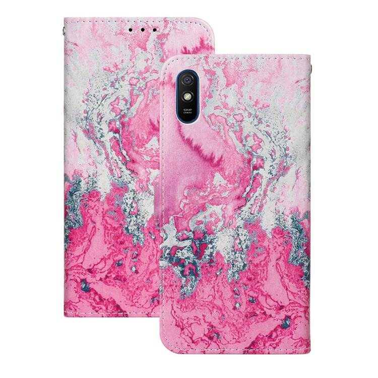 Pink Seawater PU Leather Wallet Case for Xiaomi Redmi 9A