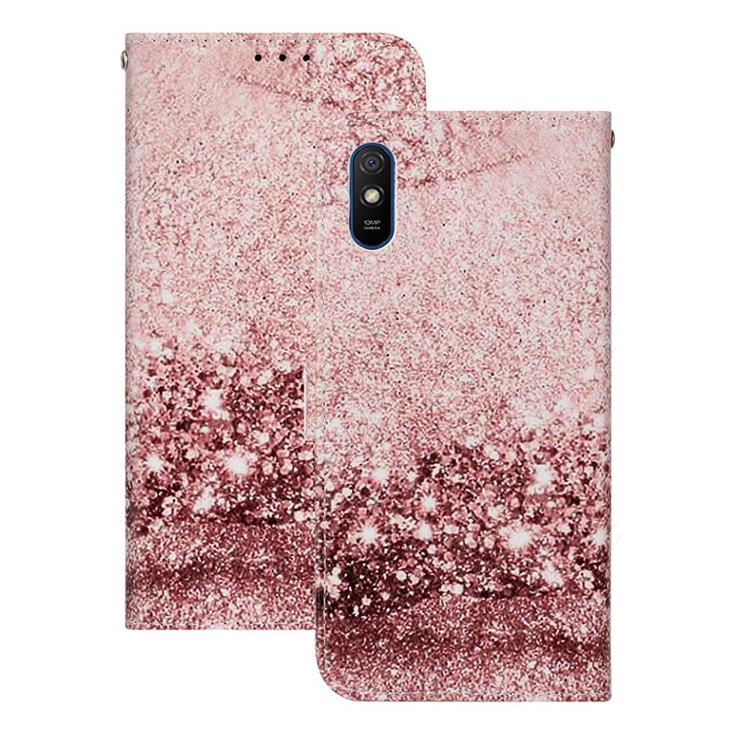 Glittering Rose Gold PU Leather Wallet Case for Xiaomi Redmi 9A