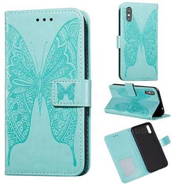 Intricate Embossing Vivid Butterfly Leather Wallet Case for Xiaomi Redmi 9A - Green