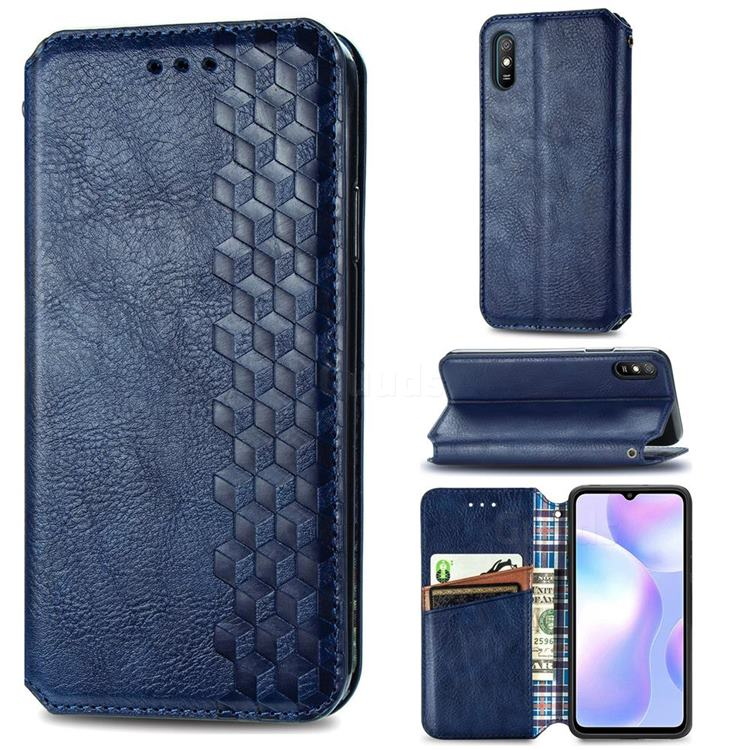 Ultra Slim Fashion Business Card Magnetic Automatic Suction Leather Flip Cover for Xiaomi Redmi 9A - Dark Blue